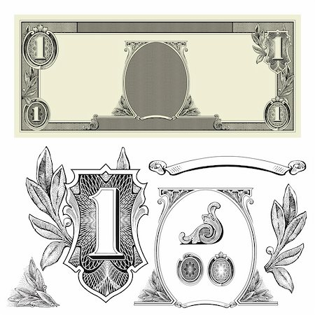 scalable - Set of detailed vector ornaments based off a one dollar bill. Stock Photo - Budget Royalty-Free & Subscription, Code: 400-04209653