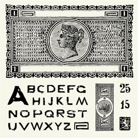 scalable - Detailed illustration of old world money and matching vector font. Stock Photo - Budget Royalty-Free & Subscription, Code: 400-04209662