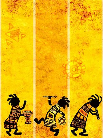 Dancing musicians. African traditional patterns Stock Photo - Budget Royalty-Free & Subscription, Code: 400-04200458