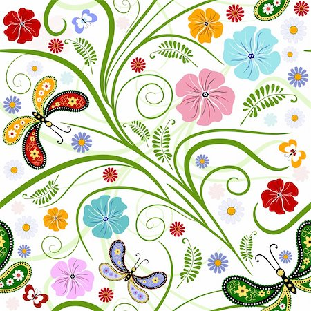 Seamless floral white pattern with handwork flowers and butterflies (vector) Stock Photo - Budget Royalty-Free & Subscription, Code: 400-04201088