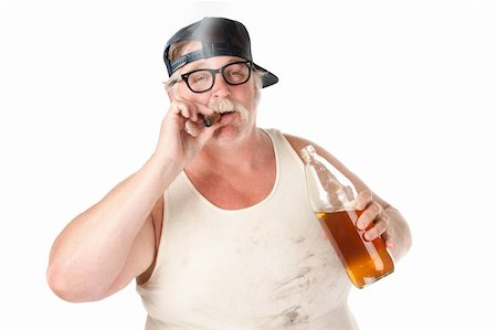 Fat man with smoking a cigar and holding a 40 oz beer Stock Photo - Budget Royalty-Free & Subscription, Code: 400-04201093