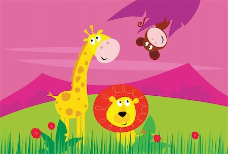 smiling chimpanzee - Cute jungle animals - yellow giraffe, funny tigger and little monkey behind palm leaf. Background with mountains and grass in behind animals. Vector Illustration. Stock Photo - Budget Royalty-Free & Subscription, Code: 400-04201665