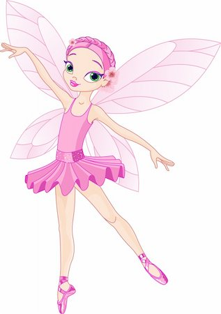 Dancing Pink Cute fairy ballerina Stock Photo - Budget Royalty-Free & Subscription, Code: 400-04202851