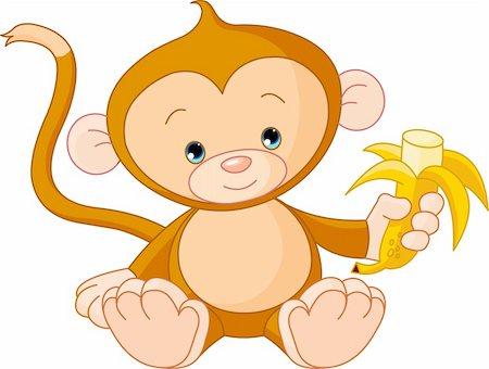 Illustration of baby Monkey eating banana Stock Photo - Budget Royalty-Free & Subscription, Code: 400-04202861