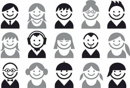 icon set of woman and man faces, vector pictogram Stock Photo - Budget Royalty-Free & Subscription, Code: 400-04214182
