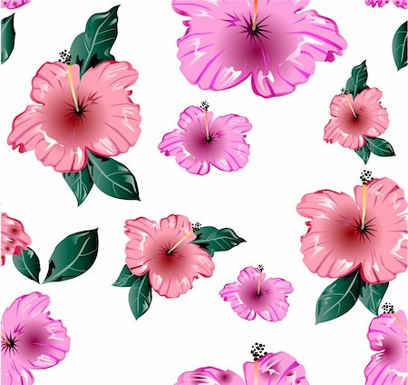 peony illustrations - Pink flower seamless wallpaper. Vector illustration texture Stock Photo - Budget Royalty-Free & Subscription, Code: 400-04214455