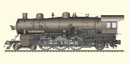 Vector illustration of old locomotive Stock Photo - Budget Royalty-Free & Subscription, Code: 400-04214715