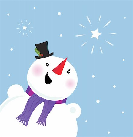 Snowman looking at the snow and christmas star. Vector Illustration. Stock Photo - Budget Royalty-Free & Subscription, Code: 400-04216260