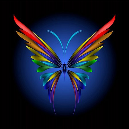 Vector illustration of icon simply butterfly on black background Stock Photo - Budget Royalty-Free & Subscription, Code: 400-04217265