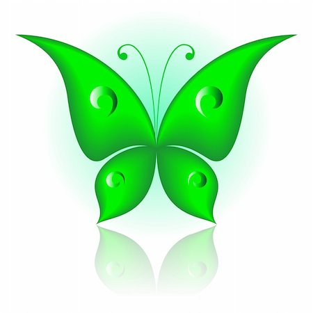 Vector illustration of green icon simply butterfly Stock Photo - Budget Royalty-Free & Subscription, Code: 400-04217262