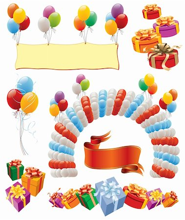 Design elements - balloons decoration for birthday and party Stock Photo - Budget Royalty-Free & Subscription, Code: 400-04217300