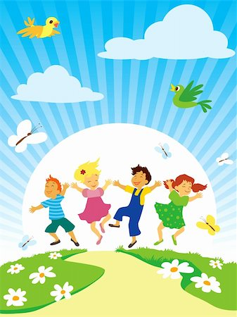 family fun day background - Children with smiling faces are playing, jumping and dancing. Stock Photo - Budget Royalty-Free & Subscription, Code: 400-04217520