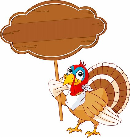 Thanksgiving Turkey holding blank sign . Isolated on a white background. Stock Photo - Budget Royalty-Free & Subscription, Code: 400-04218128