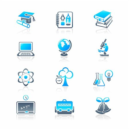 School and college education objects; tools and science symbols vector icon set. Stock Photo - Budget Royalty-Free & Subscription, Code: 400-04218844