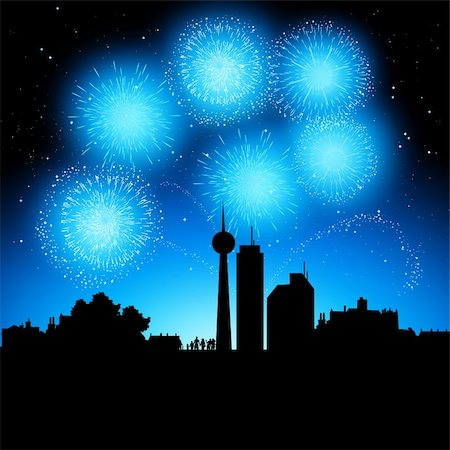 fireworks vector - Fireworks coming to life over a city at night. Stock Photo - Budget Royalty-Free & Subscription, Code: 400-04219011