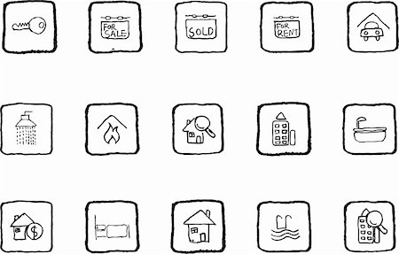 Real Estate icons grunge line Stock Photo - Budget Royalty-Free & Subscription, Code: 400-04219237