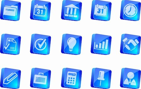Business icons   blue transparent box series Stock Photo - Budget Royalty-Free & Subscription, Code: 400-04219789