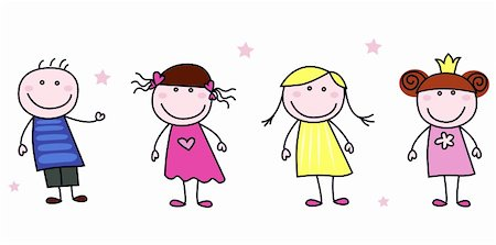 Stick figure inspired children in different characters. Vector Illustration isolated on white. Stock Photo - Budget Royalty-Free & Subscription, Code: 400-04210257