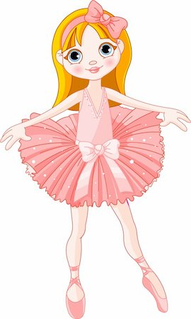 Illustration of  Little Cute  ballerina with pink dress Stock Photo - Budget Royalty-Free & Subscription, Code: 400-04210409