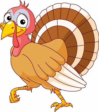 Walking Thanksgiving Turkey. Isolated on a white background. Stock Photo - Budget Royalty-Free & Subscription, Code: 400-04210478
