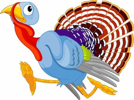 Cartoon turkey running, isolated on white background Stock Photo - Budget Royalty-Free & Subscription, Code: 400-04210730