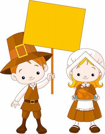 Illustration of Thanksgiving Pilgrims couple Stock Photo - Budget Royalty-Free & Subscription, Code: 400-04211384