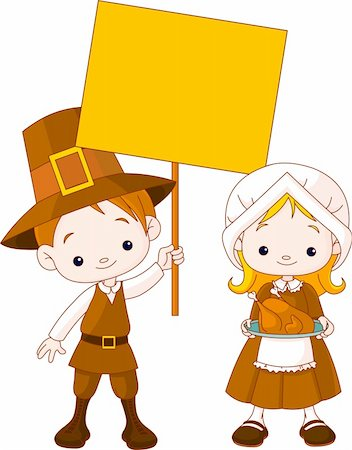 Illustration of Thanksgiving Pilgrims couple Stock Photo - Budget Royalty-Free & Subscription, Code: 400-04211384
