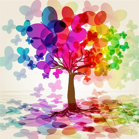 Abstract colorful Tree. Vector. Illustration for your design. Stock Photo - Budget Royalty-Free & Subscription, Code: 400-04211686