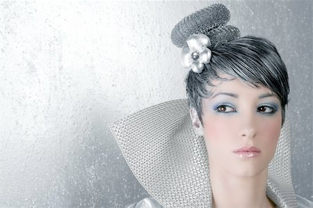 fahion makeup hairstyle woman futuristic trendy silver portrait Stock Photo - Budget Royalty-Free & Subscription, Code: 400-04212199