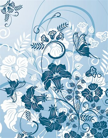 filigree designs in trees and insects - Floral Background with butterfly, element for design, vector illustration Stock Photo - Budget Royalty-Free & Subscription, Code: 400-04212560