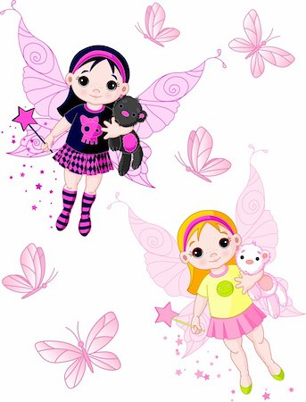 Two cute fairies   blond and brunette, flying with butterflies Stock Photo - Budget Royalty-Free & Subscription, Code: 400-04213199