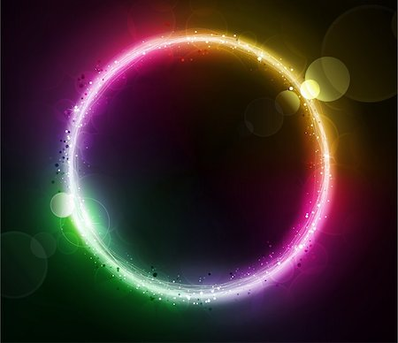 fireworks vector art - Vector illustration of color abstract background with blurred magic neon light circle Stock Photo - Budget Royalty-Free & Subscription, Code: 400-04213601