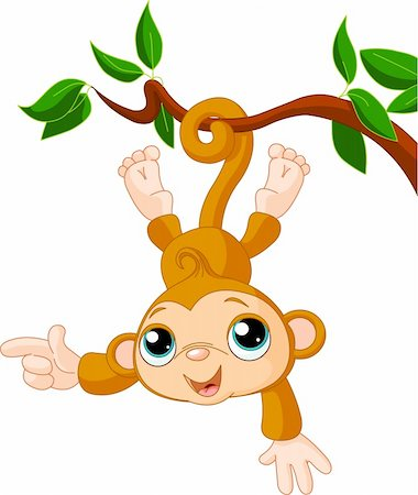 Cute baby monkey on a tree showing (presenting) Stock Photo - Budget Royalty-Free & Subscription, Code: 400-04213644