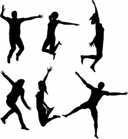 simsearch:400-04222950,k - people jumping silhouettes - vector Stock Photo - Budget Royalty-Free & Subscription, Code: 400-04225031