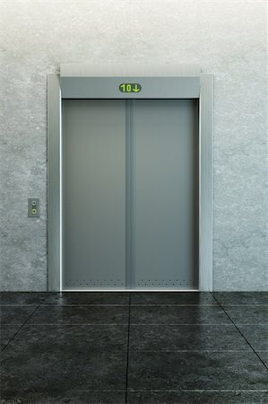 modern elevator with closed doors Stock Photo - Budget Royalty-Free & Subscription, Code: 400-04225246