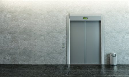 modern elevator with closed doors Stock Photo - Budget Royalty-Free & Subscription, Code: 400-04225243