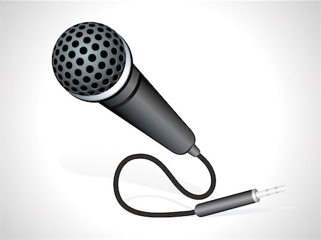mic with plug in black color vector illustration Stock Photo - Budget Royalty-Free & Subscription, Code: 400-04225427