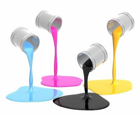 pouring paint art - Palette CMYK. Objects isolated over white Stock Photo - Budget Royalty-Free & Subscription, Code: 400-04225886