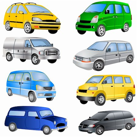 Vector illustration of different minivan cars isolated on white background. Stock Photo - Budget Royalty-Free & Subscription, Code: 400-04225944
