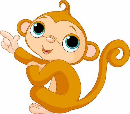 Illustration of cute pointing baby monkey Stock Photo - Budget Royalty-Free & Subscription, Code: 400-04227154