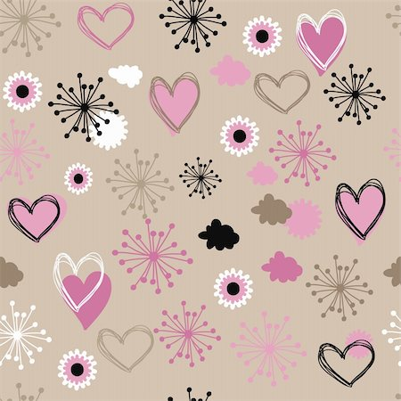 simsearch:400-04597082,k - pattern with  hearts and flowers Stock Photo - Budget Royalty-Free & Subscription, Code: 400-04227176