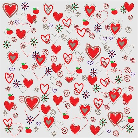 simsearch:400-04597082,k - pattern with  hearts and flowers Stock Photo - Budget Royalty-Free & Subscription, Code: 400-04227241