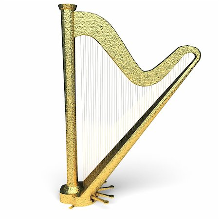 isolated golden harp made in 3d graphics Stock Photo - Budget Royalty-Free & Subscription, Code: 400-04228603
