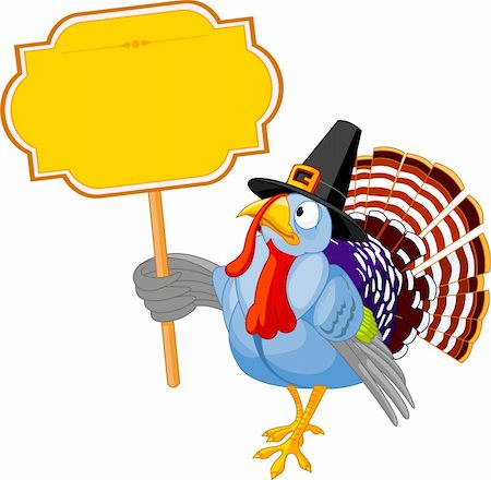 Illustration of a Thanksgiving turkey holding a blank board sign Stock Photo - Budget Royalty-Free & Subscription, Code: 400-04228629