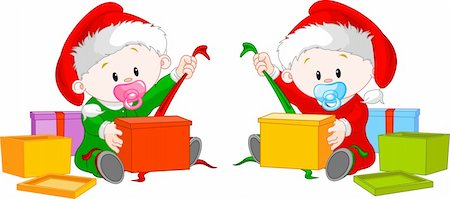 Cute  twins with Santa's  hat open Christmas gifts Stock Photo - Budget Royalty-Free & Subscription, Code: 400-04228746
