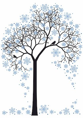 beautiful winter tree with snowflakes, vector background Stock Photo - Budget Royalty-Free & Subscription, Code: 400-04229467