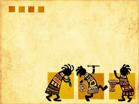 Dancing musicians. African traditional patterns Stock Photo - Budget Royalty-Free & Subscription, Code: 400-04229853