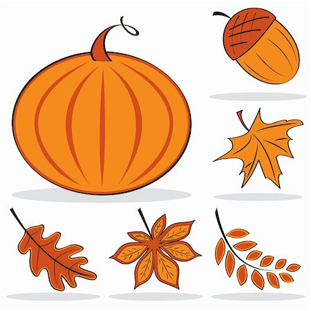Autumnal icon set in orange color. Vector illustration Stock Photo - Budget Royalty-Free & Subscription, Code: 400-04220374