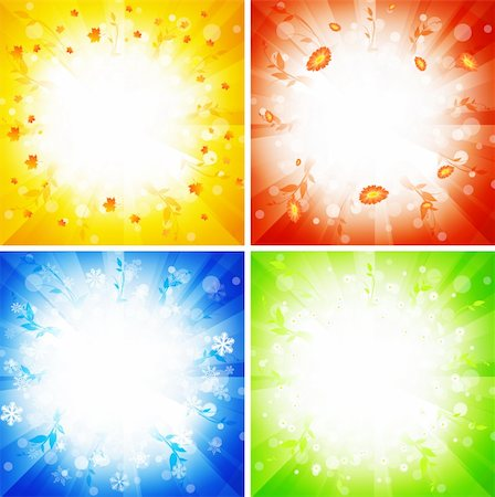 four seasons abstract explosions: autumn, summer, winter, spring Stock Photo - Budget Royalty-Free & Subscription, Code: 400-04220417