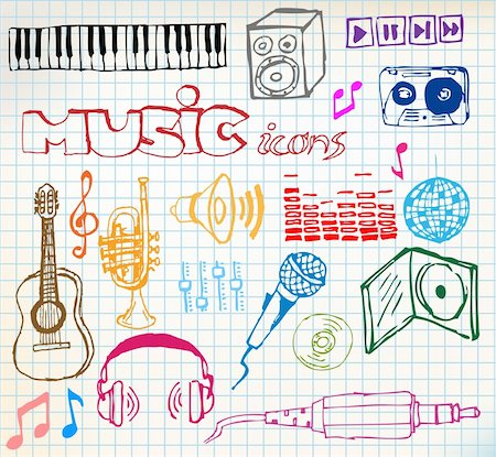 silhouette musical symbols - Set of colored music hand-drawn icons on squared paper Stock Photo - Budget Royalty-Free & Subscription, Code: 400-04220879